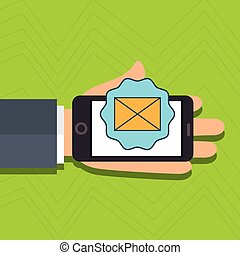 hand cellphone email message vector illustration eps 10