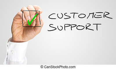 Hand Checking Box Next to Customer Support