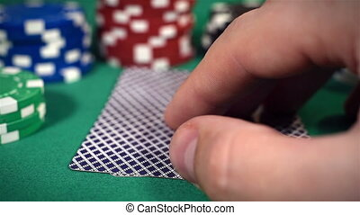 Hand Checking Cards - Poker Players Hand Checking Cards,...