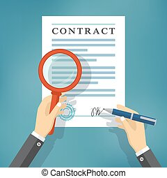 Hand checking contract with a magnifying glass.