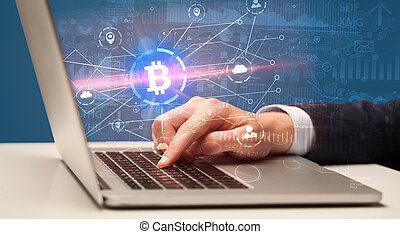 Hand checking global bitcoin exchange rate concept - Hand...