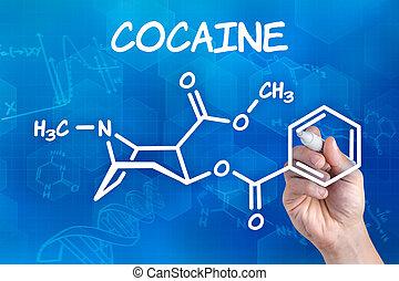 hand, chemische , stift, formel, kokain, zeichnung