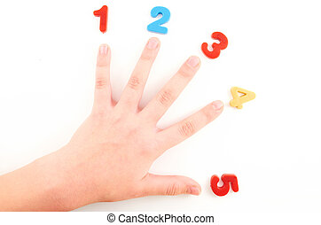 Hand - Child hand with colored figures on an isolated white...
