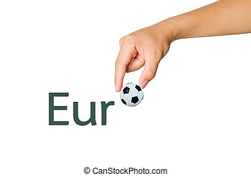Hand choose ball from fonts of Euro on white background