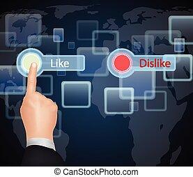 "Hand Choose ""Like""on virtual screen"
