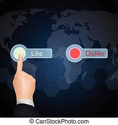 "Hand Choose""Like""on virtual screen"