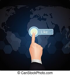 "Hand Choose""Like""on virtual screen"