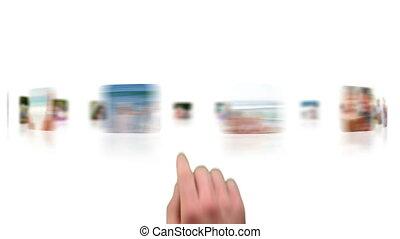 Hand choosing a clip of seniors