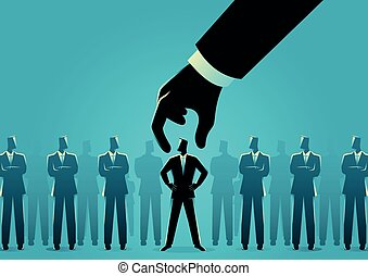 Business concept illustration of hand choosing and picking up businessman