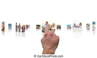 Hand choosing clips about seniors relaxing with their...
