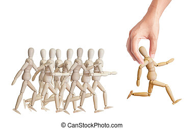 Hand choosing the perfect candidate for the job. Human resource concept