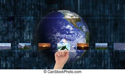 Hand choosing videos about green en