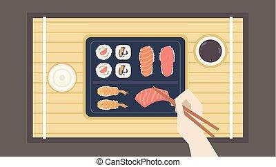 Hand Chopsticks Sushi Illustration