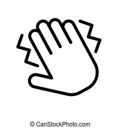 Hand clap, crmp symbol. Simple black and white outline icon. Flat vector illustration. Isolated on white.