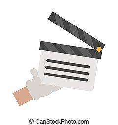 hand, clapboard, spotprent, film, vasthouden