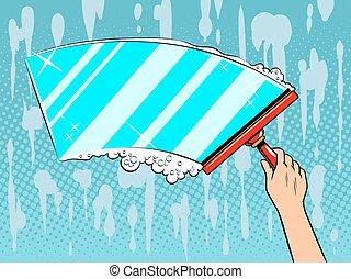 Hand clean window pop art vector illustration