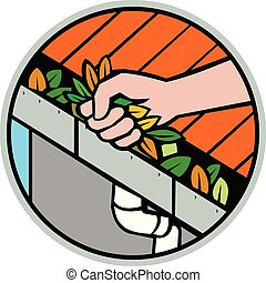 Hand Cleaning Roof Rain Gutter Icon - Icon retro style ...