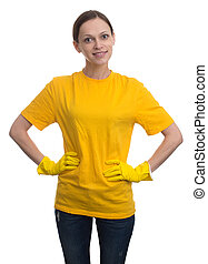 Young woman with yellow rubber gloves