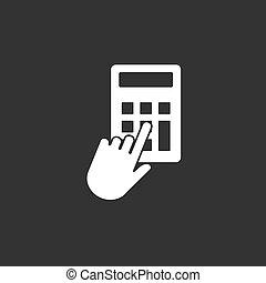 Hand, click, calculator icon. Vector illustration, flat design.