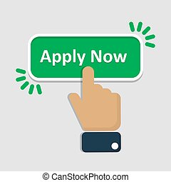 Hand click on apply now button in a flat design