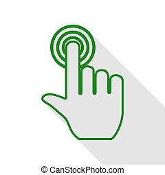 Hand click on button. Green icon with flat style shadow path.