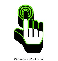 Hand click on button. Vector. Green 3d icon with black side on w