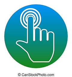 Hand click on button. Vector. White icon in bluish circle on white background. Isolated.