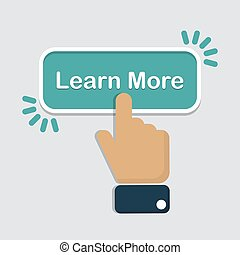 Hand click on learn more button in a flat design