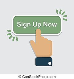 Hand click on sign up now button in a flat design