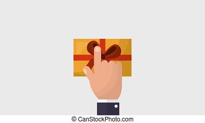 hand click smartphone gift box animation hd