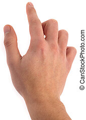 hand, click symbol, closeup on a white background