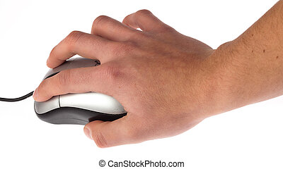 hand clicking a mouse on white background