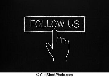 Hand Clicking Follow Us Button