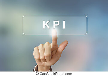 hand clicking KPI or Key Performance Indicator button on...