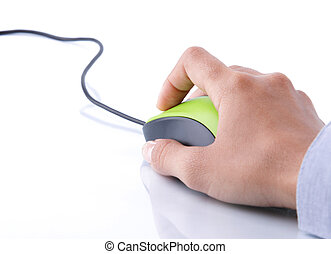 hand clicking mouse computer