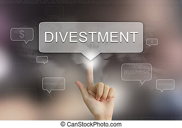 hand clicking on divestment button - hand pushing on ...