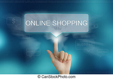 hand clicking on online shopping button