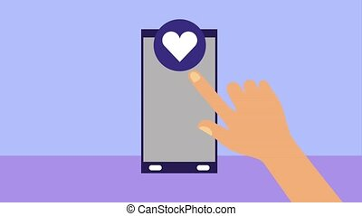 hand clicking smartphone love heart app animation hd