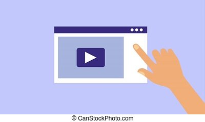 hand clicking website video player animation hd