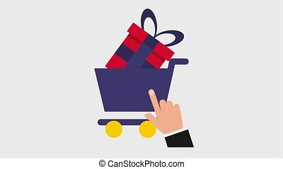 hand clicks on cart with gift boxes icons animation design