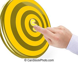 Hand clicks on the center of a golden target