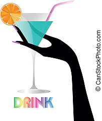 hand cocktail - illustration of green cocktail with female...