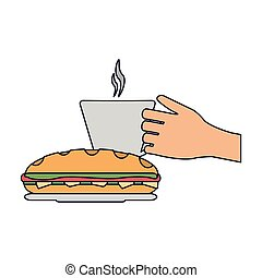 Hand coffee cup and sandwich vector illustration graphic...