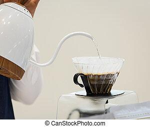 hand, coffee., droppa