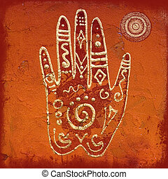 Hand collage artwork - collage with hand symbol, artwork is...