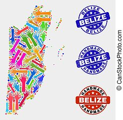 Hand Collage of Belize Map and Grunge Handmade Stamps