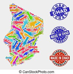 Hand Collage of Chad Map and Scratched Handmade Seals