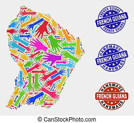 Hand Collage of French Guiana Map and Scratched Handmade Seals