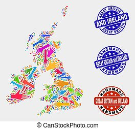 Hand Collage of Great Britain and Ireland Map and Scratched Handmade Seals