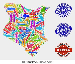 Hand Collage of Kenya Map and Textured Handmade Seals